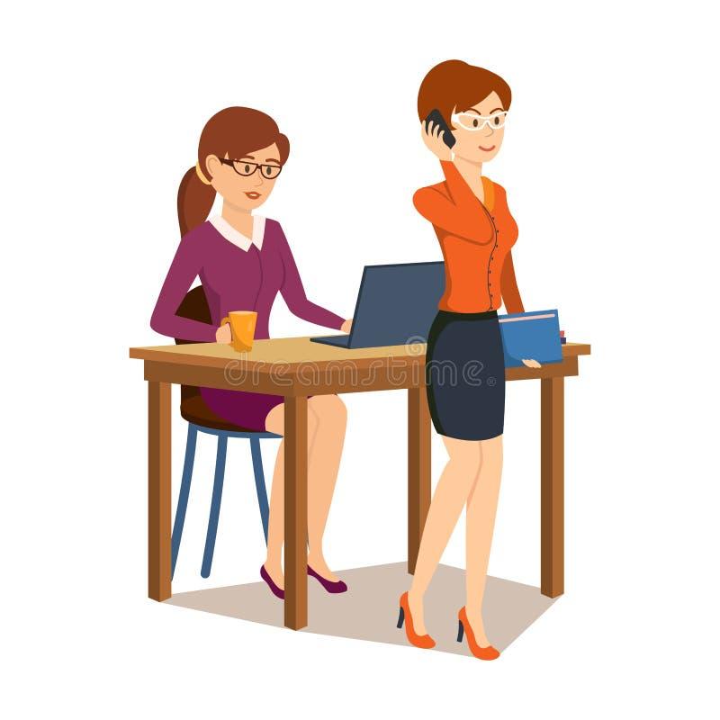 La muchacha que trabaja en el ordenador en oficina, colega habla al teléfono stock de ilustración