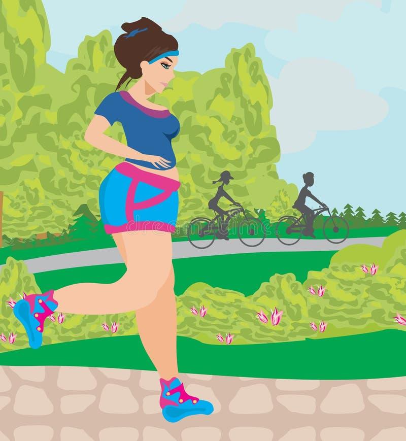 La muchacha quiere perder el peso ilustración del vector