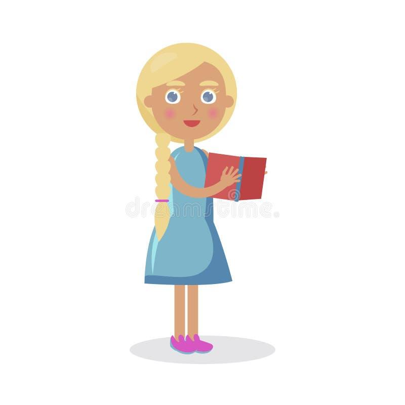 La muchacha rubia con los controles de los ojos azules abre vector del libro ilustración del vector