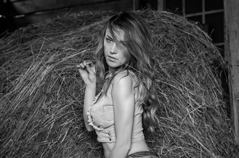 La muchacha rubia encantadora joven con el pelo largo en un granero en una granja cerca de un pajar en el campo con los ojos de f fotografía de archivo