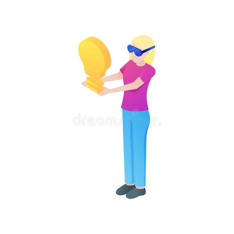 La muchacha rubia encuentra la mejor idea del negocio en gafas del vr ilustración del vector