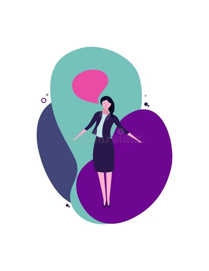 La muchacha se coloca, dice, empresaria stock de ilustración