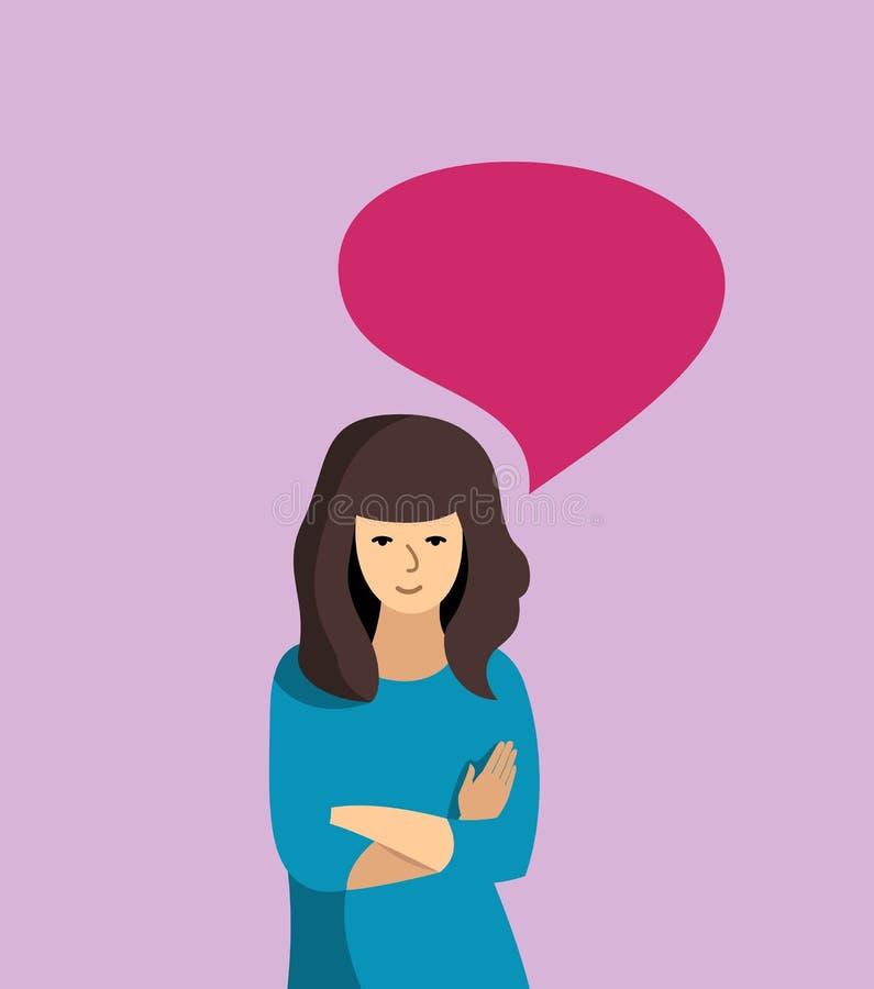 La muchacha se coloca en un rosa libre illustration