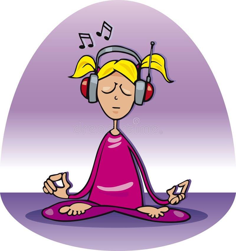 La muchacha se relaja y escucha música ilustración del vector