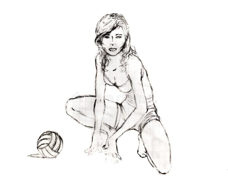 La muchacha se sentó al lado de un voleibol, dibujo de lápiz fotografía de archivo