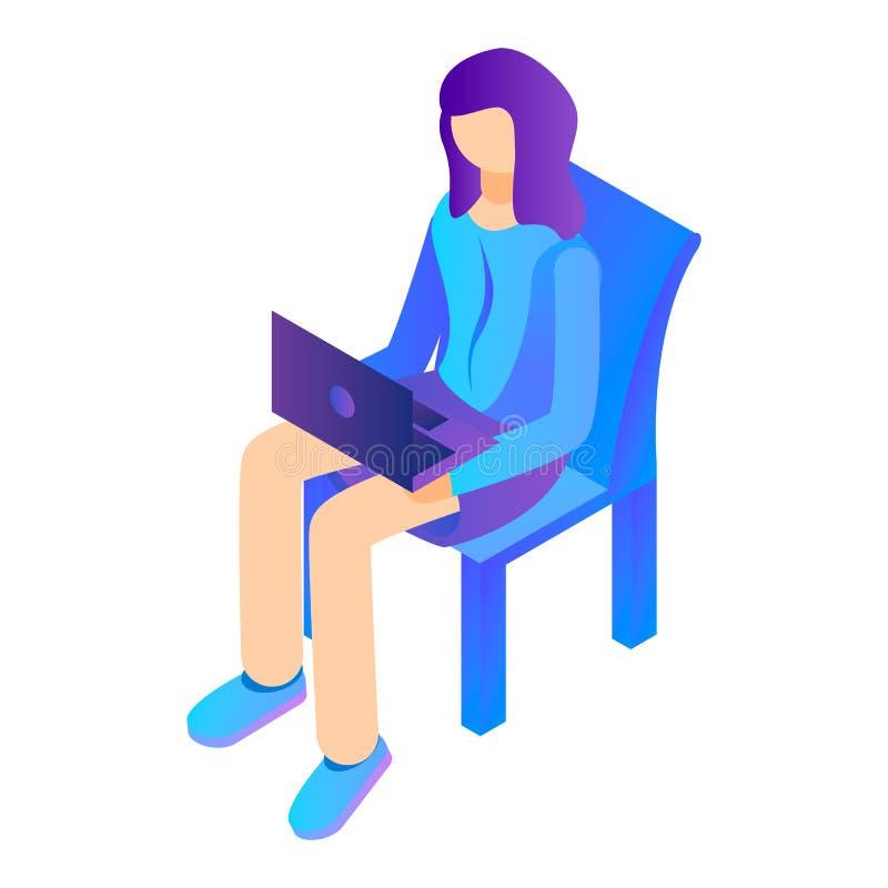 La muchacha se sienta con el ordenador portátil en el icono de la silla, estilo isométrico ilustración del vector