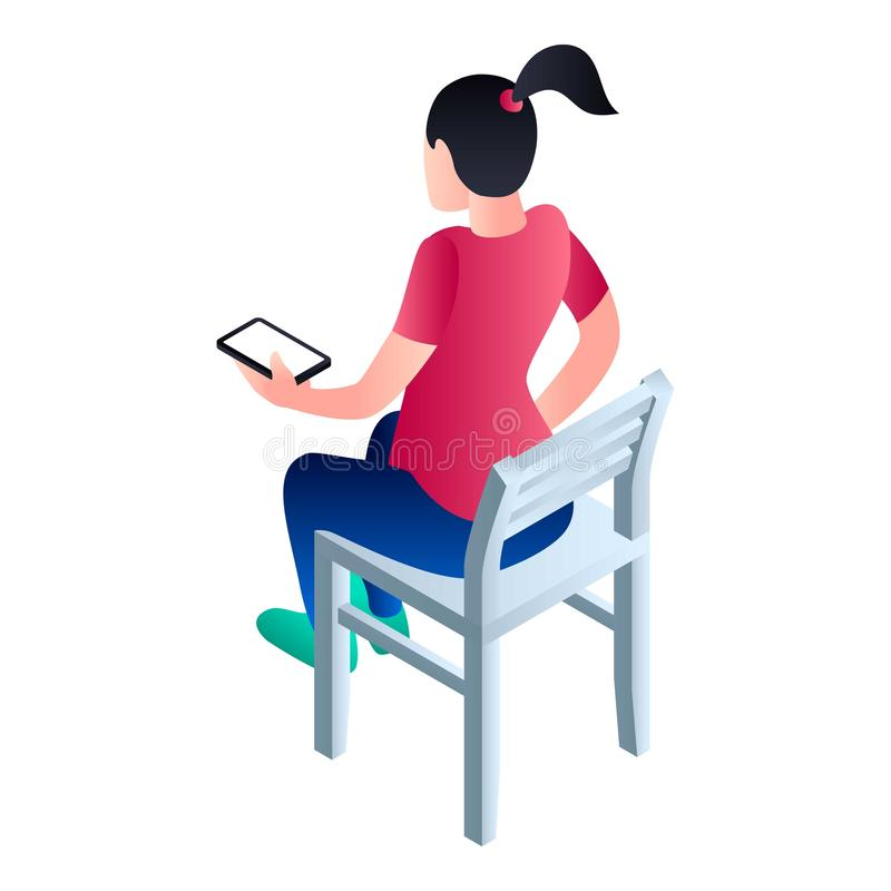 La muchacha se sienta en el icono de la silla, estilo isométrico stock de ilustración