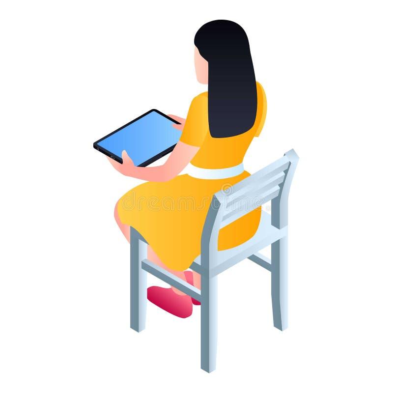La muchacha se sienta en silla con el icono de la tableta, estilo isométrico stock de ilustración