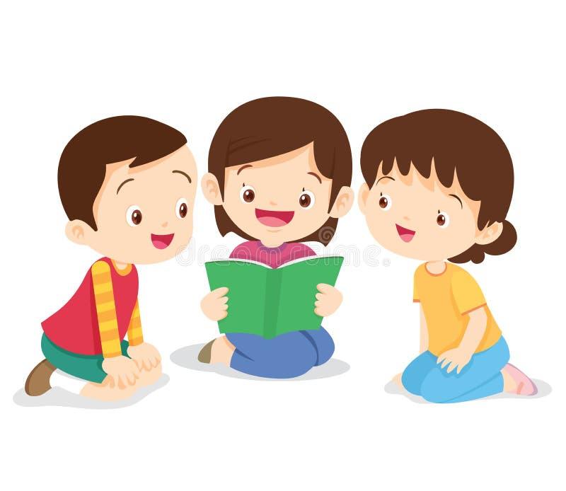 La muchacha sienta y leyó el libro ilustración del vector