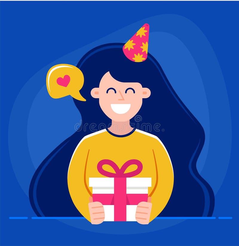 La muchacha sostiene en sus manos un regalo y desea feliz cumpleaños ejemplo del vector del car?cter stock de ilustración