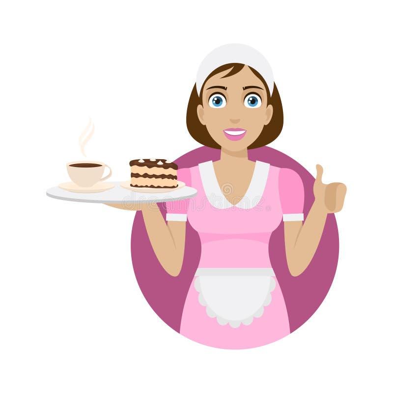 La muchacha sostiene la bandeja con café y la torta libre illustration