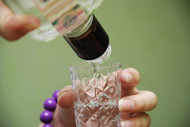 La muchacha sostiene la botella de la vodka disponible imagen de archivo