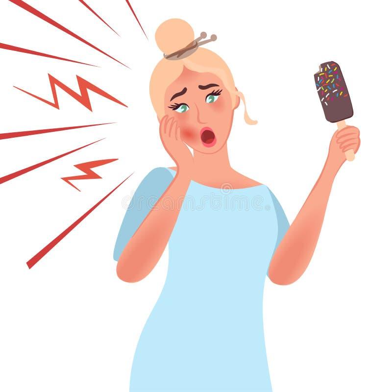 La muchacha toca su mejilla debido a dolor y la sensibilidad de dientes al frío Tratamiento del dolor de muelas Odontología de lo ilustración del vector