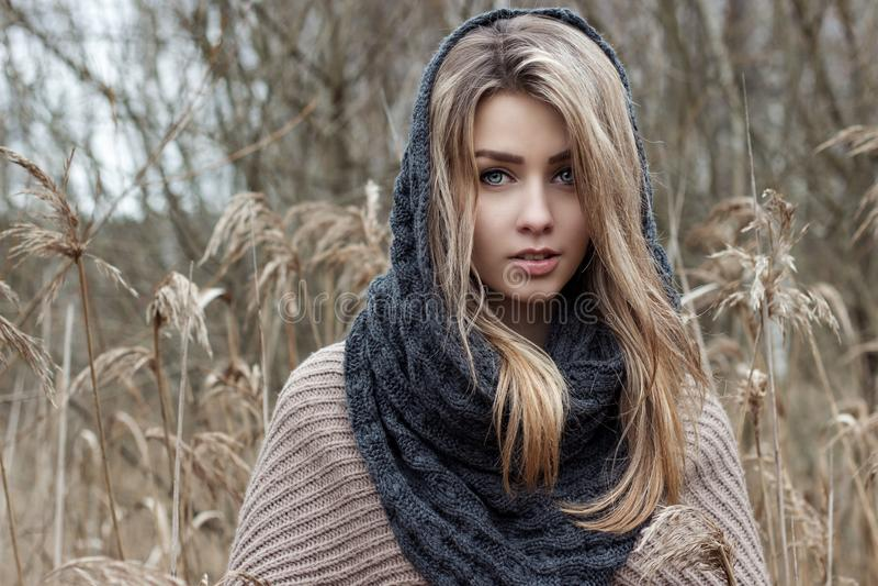 la muchacha triste hermosa está caminando en el campo Foto en tonos marrones foto de archivo