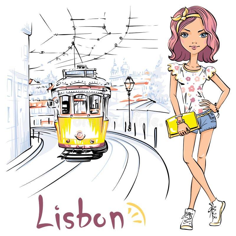 La muchacha y amarillea 28 la tranvía, Alfama, Lisboa, Portugal stock de ilustración