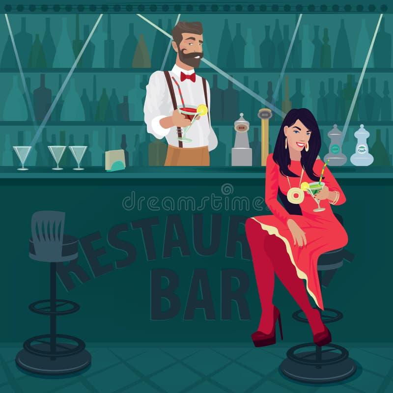 La muchacha y el camarero ofrecen diversos cócteles libre illustration