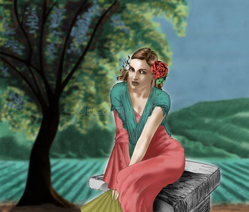 La muchacha y el campo 02 imágenes de archivo libres de regalías