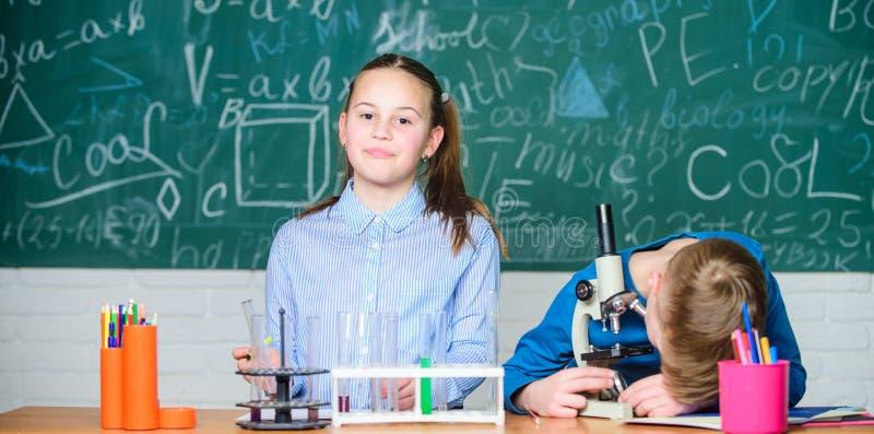 La muchacha y el muchacho comunican el experimento de la escuela de la conducta del rato Ni?os que estudian junto la sala de clas foto de archivo libre de regalías