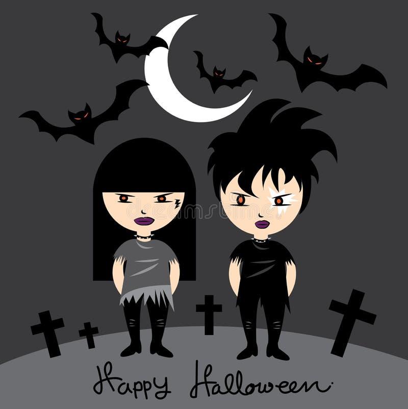 La muchacha y el muchacho del eje de balancín que llevan el traje negro en la noche Halloween stock de ilustración
