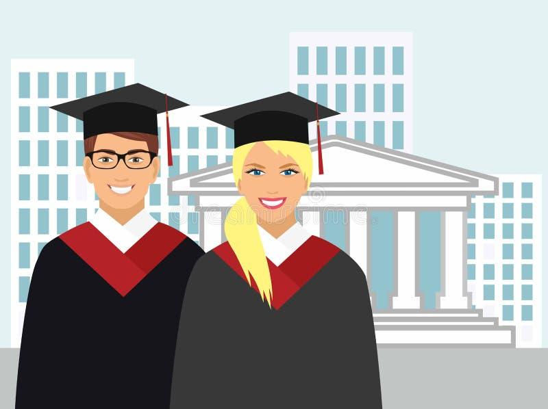La muchacha y el muchacho en vestido gradúan en el fondo de la universidad stock de ilustración