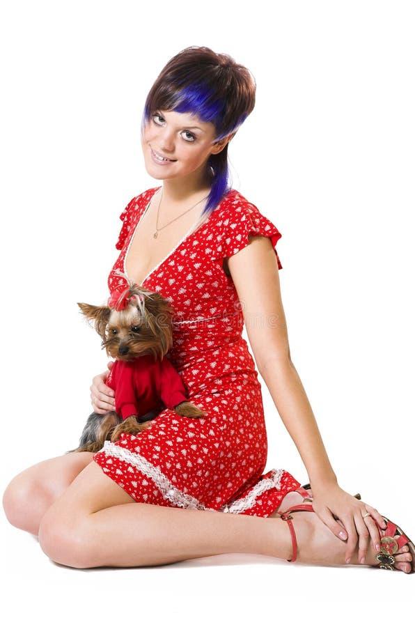 La muchacha y el pequeño perro fotografía de archivo