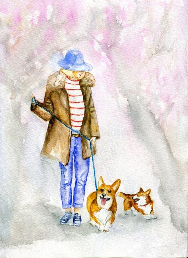 La muchacha y los perros imagen de archivo libre de regalías