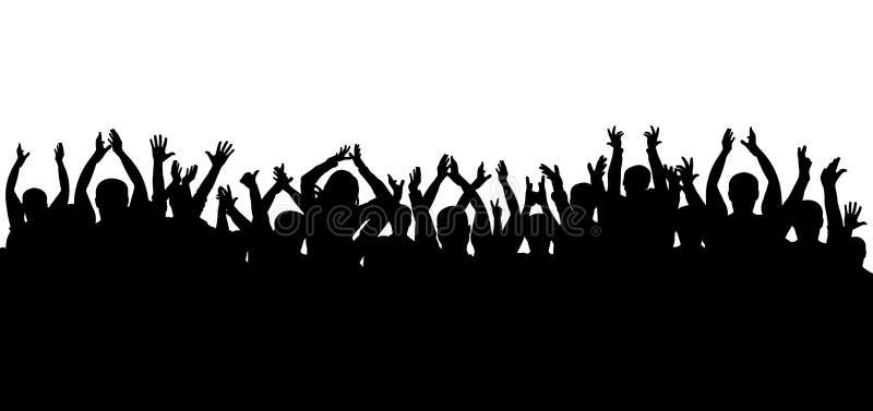 La muchedumbre de aplauso en el concierto aisló la silueta stock de ilustración