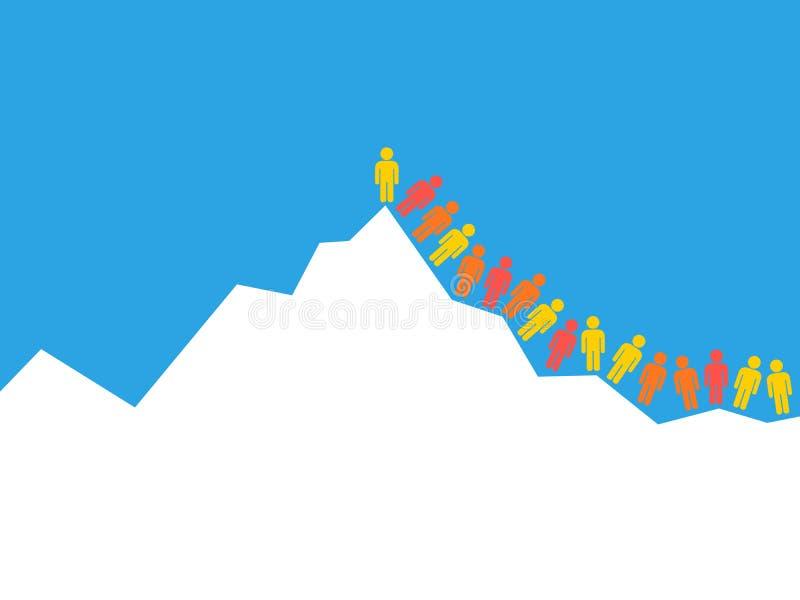 La muchedumbre de escalador de montaña y de montañeses está subiendo hasta el top, la cumbre y el pico de la montaña stock de ilustración