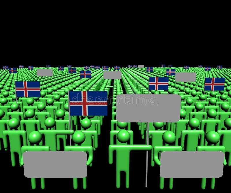 La muchedumbre de gente con las muestras y el islandés señala el ejemplo por medio de una bandera libre illustration