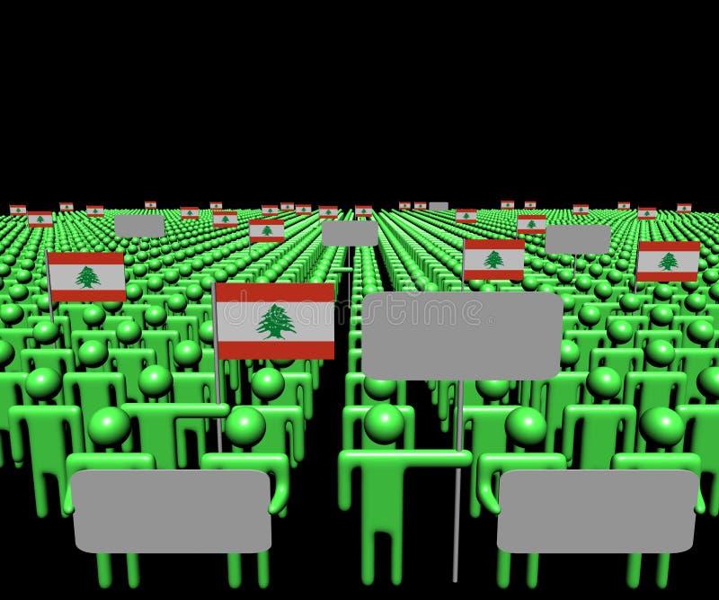 La muchedumbre de gente con las muestras y el libanés señala el ejemplo por medio de una bandera libre illustration
