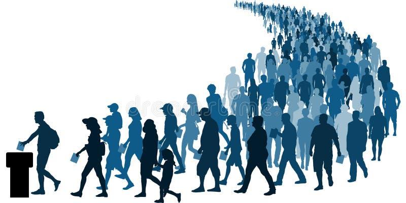 La muchedumbre de gente va a las encuestas a votar Vector de la silueta del referéndum ilustración del vector