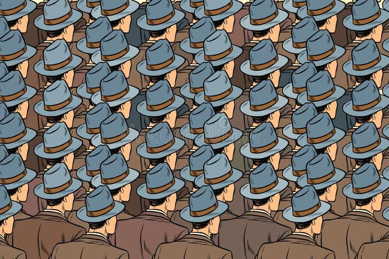 La muchedumbre del fondo de los mismos hombres, retrocede stock de ilustración