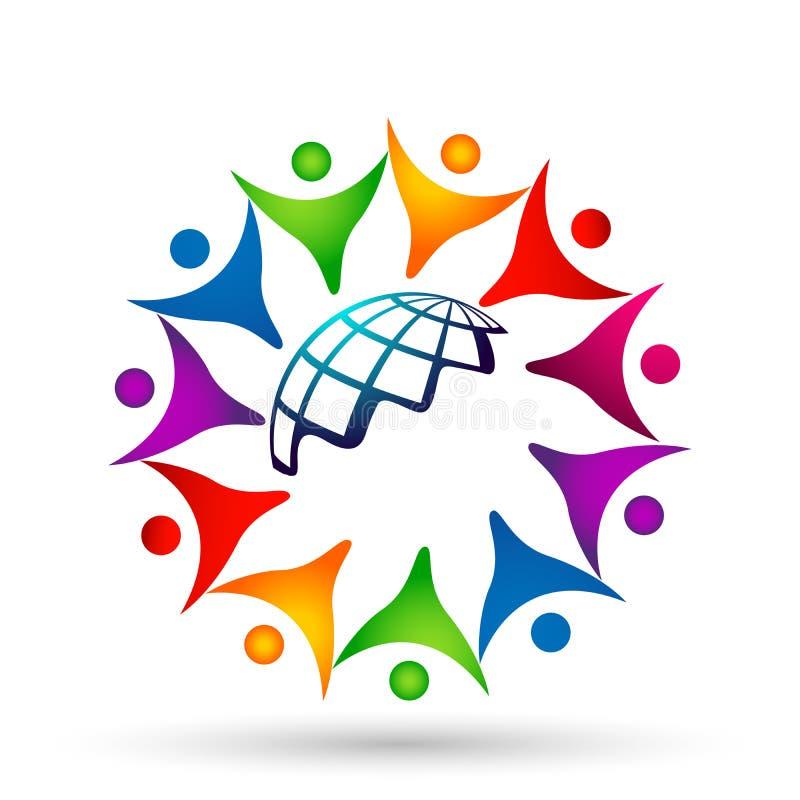 La muchedumbre del globo de gente combina la unión del trabajo, animando para arriba en logotipo del círculo en el fondo blanco stock de ilustración