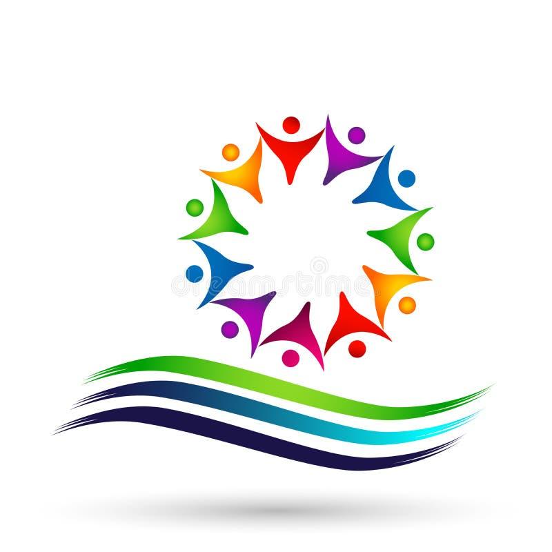 La muchedumbre del globo de gente combina la unión del trabajo, animando para arriba en logotipo del círculo en el fondo blanco ilustración del vector
