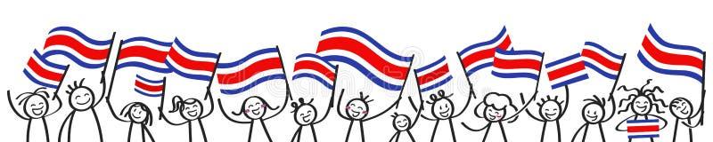 La muchedumbre que anima de palillo feliz figura con las banderas nacionales de Costa Rican, partidarios sonrientes de Costa Rica ilustración del vector