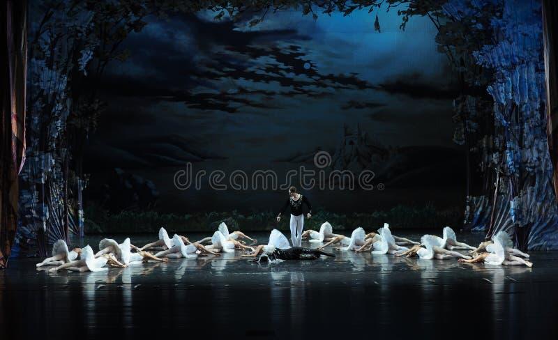 La muerte del lago swan del cisne-ballet imagen de archivo