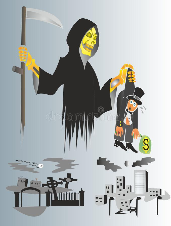 La muerte viene visitar todos los seres vivos ilustración del vector