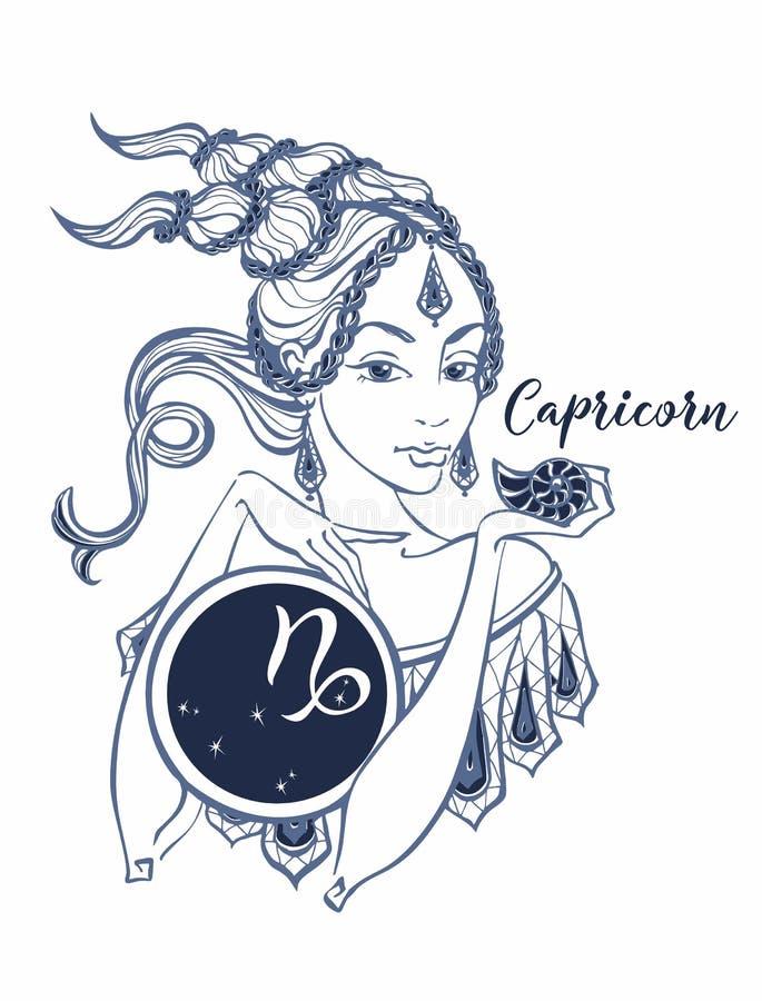 La muestra astrológica del Capricornio como muchacha hermosa horoscope astrología vencedor stock de ilustración