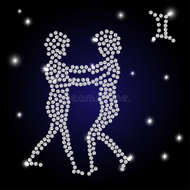 La muestra brillante de los géminis del zodiaco es el cielo estrellado ilustración del vector