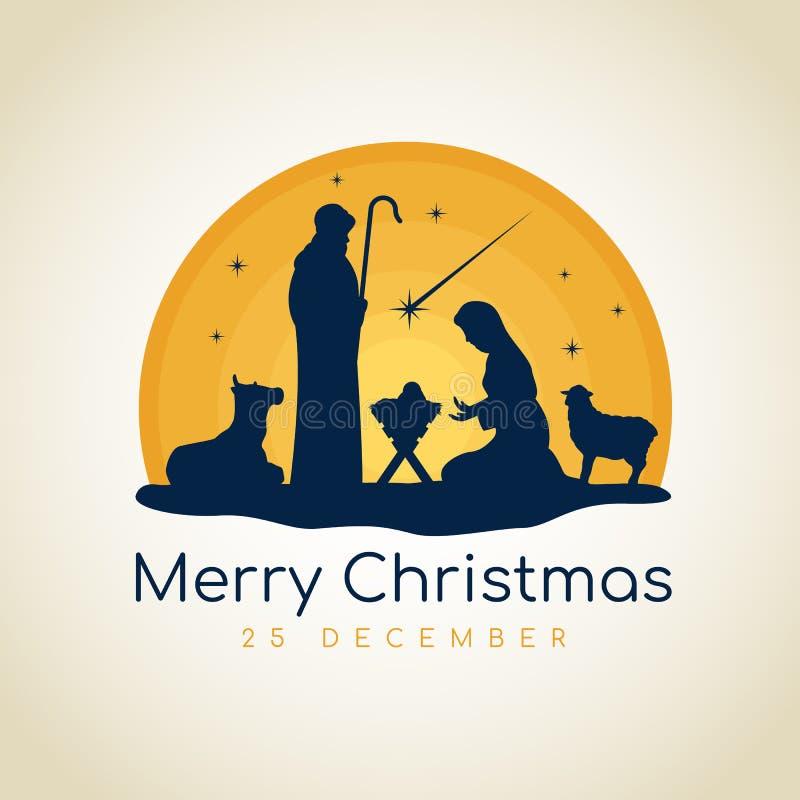 La muestra de la bandera de la Feliz Navidad con el paisaje nocturno Maria y José de la Navidad en un pesebre con el vector de Je stock de ilustración