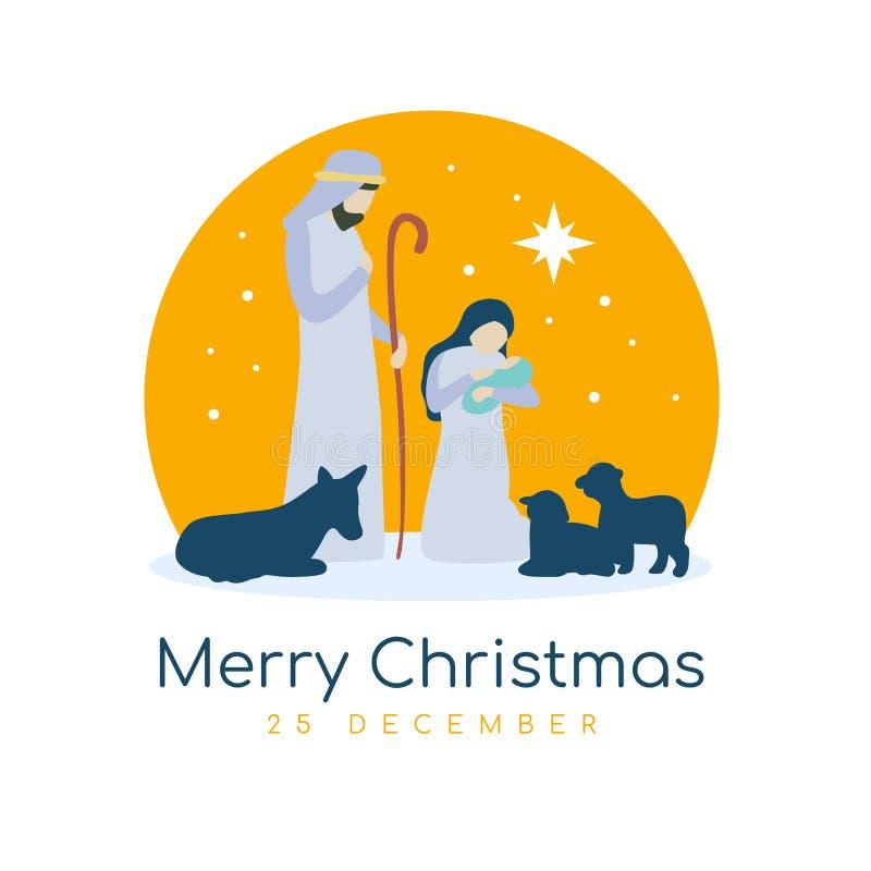 La muestra de la bandera de la Feliz Navidad con el paisaje nocturno Maria y José de la Navidad en un pesebre con el vector de Je libre illustration
