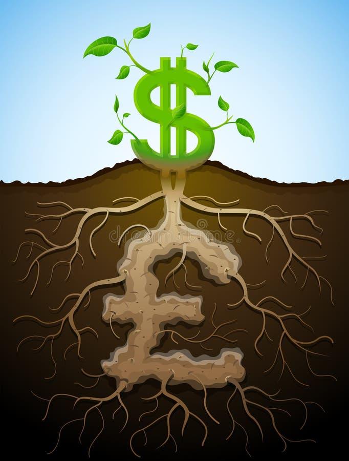 La muestra de dólar cada vez mayor como la planta con las hojas y la libra les gusta raíces stock de ilustración