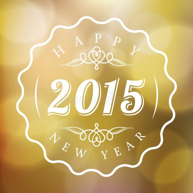 La muestra de la Feliz Año Nuevo 2015 en extracto empañó el fondo del oro libre illustration