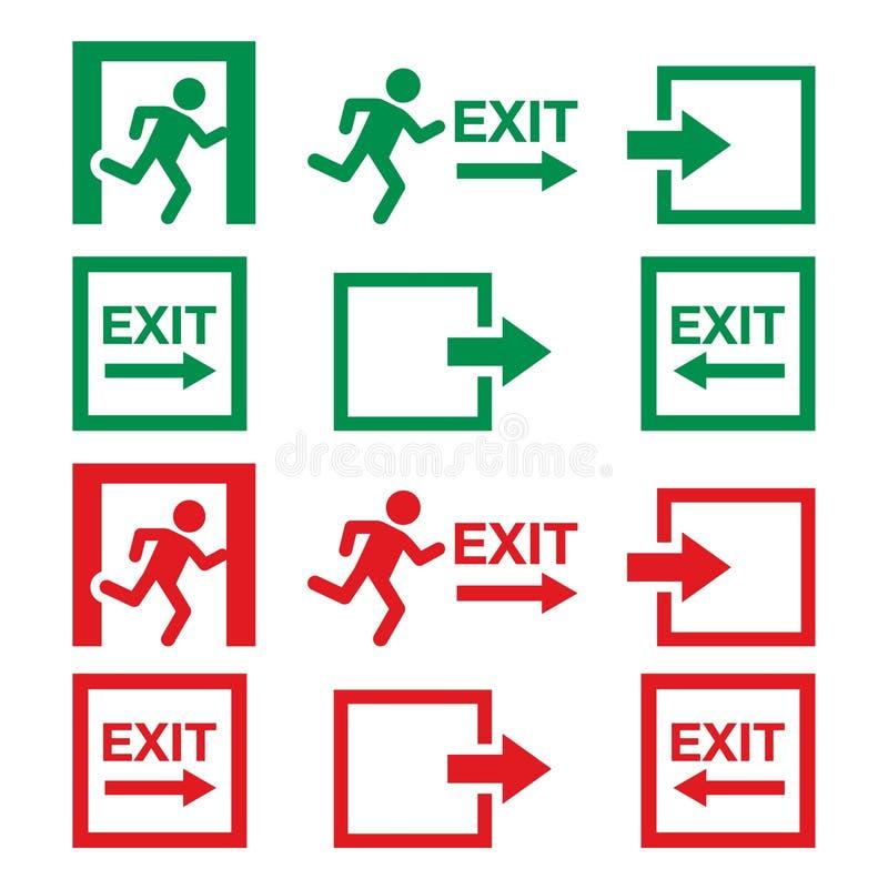 La muestra de la salida de emergencia, los iconos amonestadores fijó en verde y rojo libre illustration