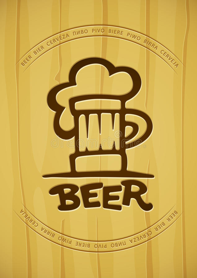 Download La Muestra De La Taza Con La Cerveza Contornea La Silueta En Fondo De Madera Stock de ilustración - Ilustración de barrilete, vicia: 44851038