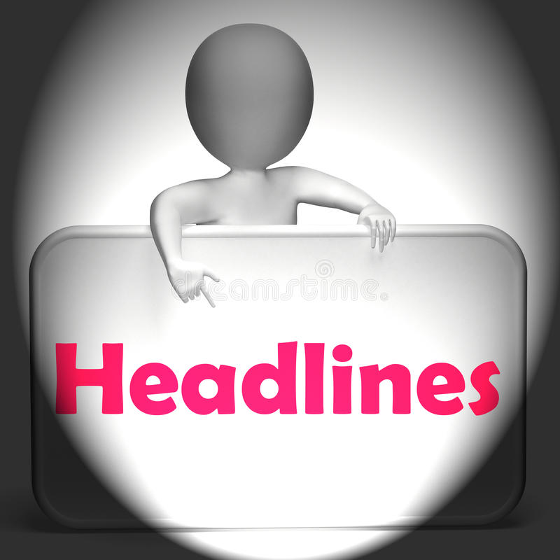 La muestra de los títulos exhibe la medios información y noticias ilustración del vector