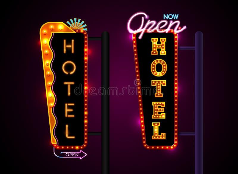La muestra de neón del hotel, fijó verticalmente el texto, ejemplo del vector stock de ilustración