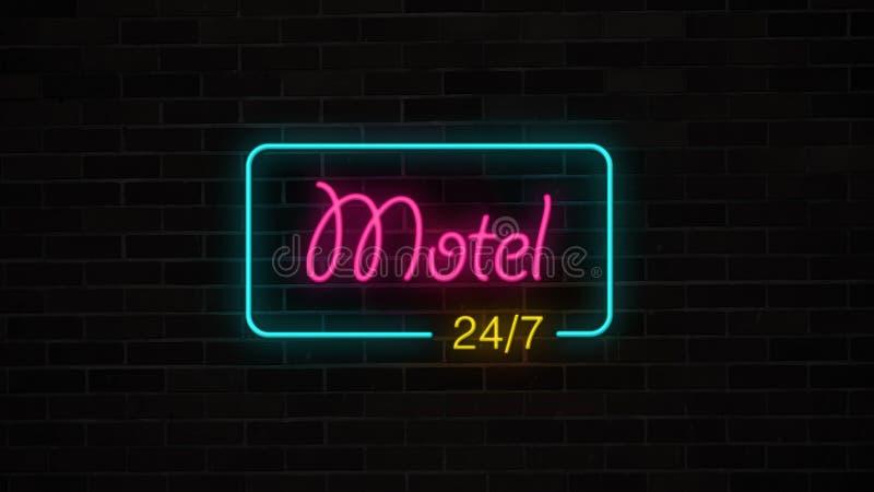 La muestra de neón del motel 24/7 brilla intensamente y se enciende en la pared de ladrillo del grunge libre illustration