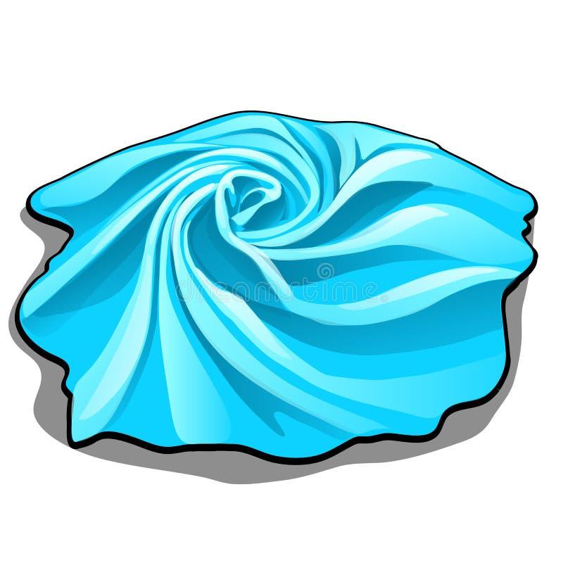La muestra de tejido de color azul se aísla en el fondo blanco Ejemplo del primer de la historieta del vector libre illustration