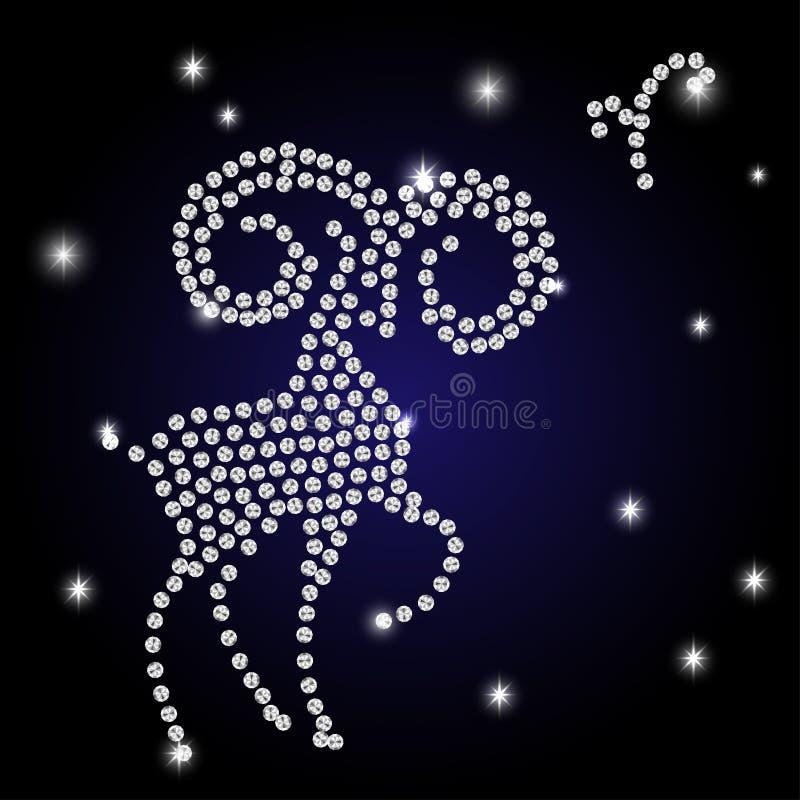 La muestra del aries del zodiaco es el cielo estrellado stock de ilustración